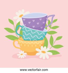 tea, different teacups with flowers and leaves design