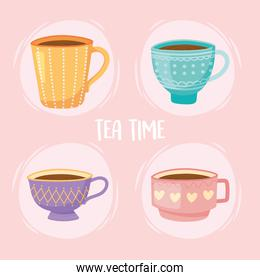 tea, teacups traditional beverage relaxation icons