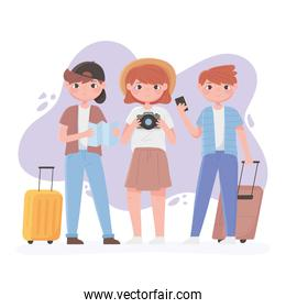people traveling, girl and boys with camera map and suitcases