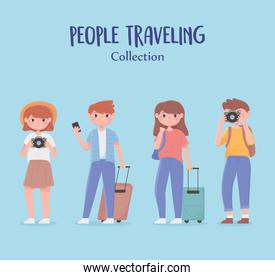 people traveling, collection young group with suitcases camera and mobile