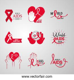world aids day, 1st december awareness ribbons heart support icons collection