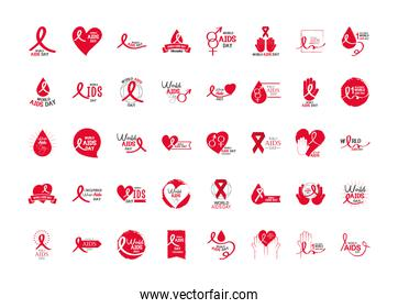 world aids day, different text handwritten, awareness, ribbons, hearts icons collection