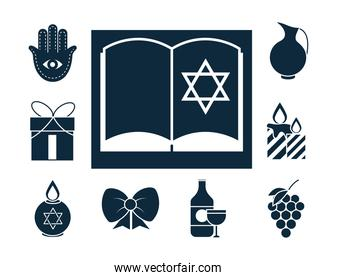 hanukkah, religious traditional culture judaism silhouette icons collection