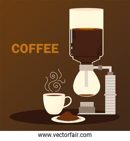 coffee brewing methods, syphon coffee cup and seeds