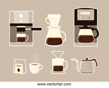 coffee brewing methods, machine appliances kettle cups and pack icons