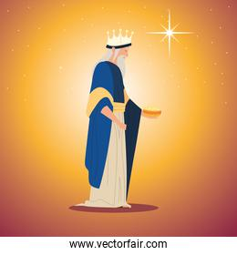 nativity, Melchior wise king character manger with gift for birth of Christ