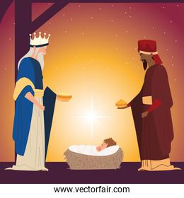 nativity, wise kings with gift for baby Jesus traditional celebration religious