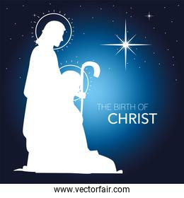 nativity, white silhouette joseph and mary with shining star blue background