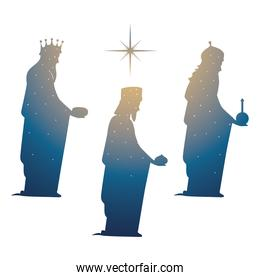 nativity, gradient silhouette three wise kings with gifts bright star