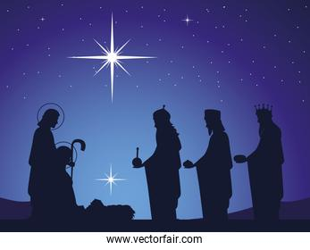 nativity, baby Jesus in the manger with Joseph Mary and wise kings, glowing star in the sky