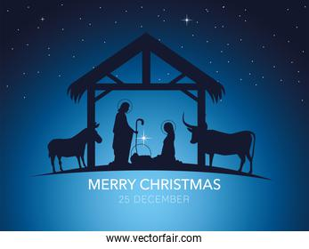 nativity, traditional manger with holy family and animals, gradient background