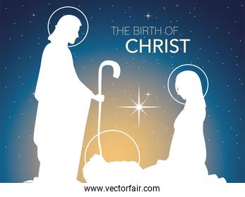 nativity, traditional celebration manger holy family in silhouette and gradient background