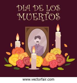 day of the dead, frame photo with candles and flowers mexican celebration