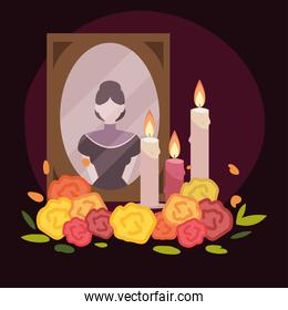 day of the dead, frame with female photo candles and flowers, mexican celebration