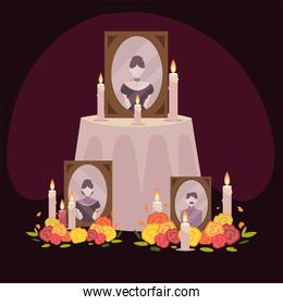 day of the dead, altar with frame photos flowers and candles mexican celebration