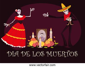 day of the dead, altar with catrina skeleton photo candles and flowers, mexican celebration