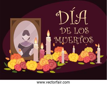 day of the dead, mexican altar with photo candles ad flowers celebration