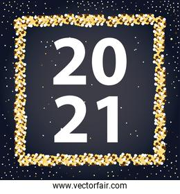 2021 happy new year, greeting card dots frame decoration black background