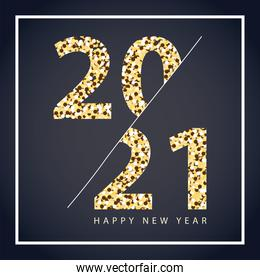 2021 happy new year dottes numbers elegant card dark background