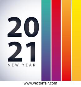 2021 happy new year, number color stripes background