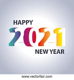 2021 happy new year, greeting card with gradient numbers