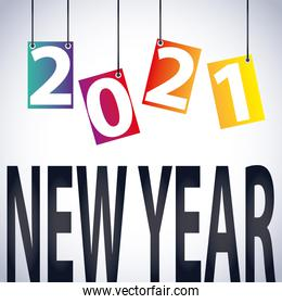 2021 happy new year hanging numbers and lettering decoration card