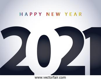 2021 happy new year celebration card with number on gray background