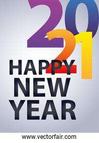 2021 happy new year celebration congrats card, colour numbers