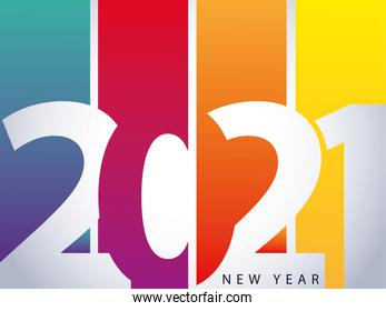 2021 happy new year greeting card with number on colour background