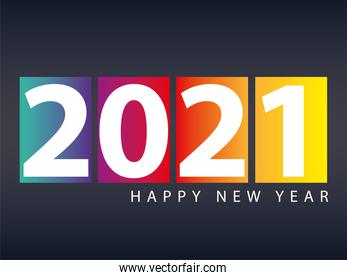 2021 happy new year black background and blocks with numbers