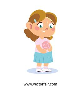 cute little girl character with funny dress