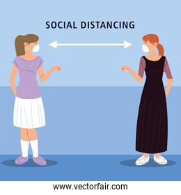 social distancing, women salute with distance, during coronavirus covid 19