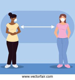 social distancing, women standing with distance to prevent disease