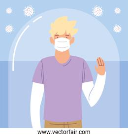 young blond man with protective mask during coronavirus covid 19