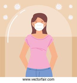 young woman with mask during coronavirus covid 19