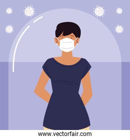 young woman with protective mask during coronavirus covid 19