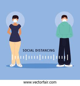 social distancing, man and woman keep distance in public society, during coronavirus covid 19