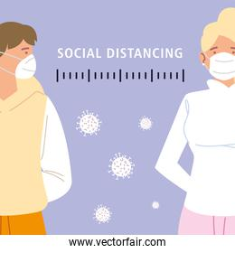social distancing, protect yourself and others people with masks during coronavirus covid 19