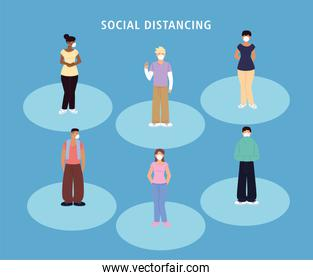 social distancing, group people with masks standing keep distance during coronavirus covid 19