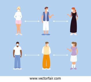 social distancing, people keeping distance for infection risk and disease