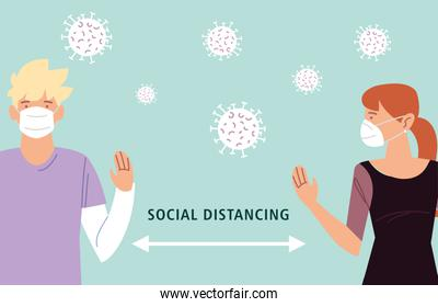 social distancing, two people keeping distance for infection risk and disease