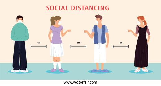 social distancing, people new normal, wearing face mask and social distance