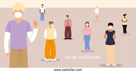 social distancing, people distance between prevention during coronavirus covid 19