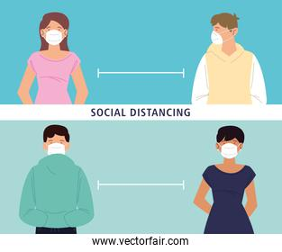 social distancing, keep distance from people or each other, during coronavirus covid 19