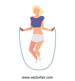 blonde woman jumping rope activity sport lifestyle outdoor