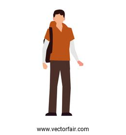 young man standing with backpack activity outdoor