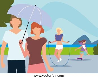 people walking with umbrella, jumping rope and riding skateboard activities outdoor