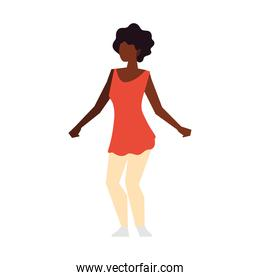 afro american woman standing character isolated icon