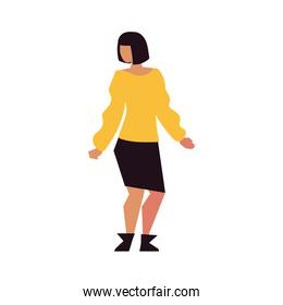 woman standing character stylish isolated icon