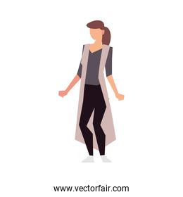 brunette woman standing character isolated icon